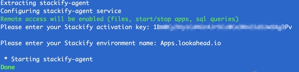 Stackify Installation with Environment Name