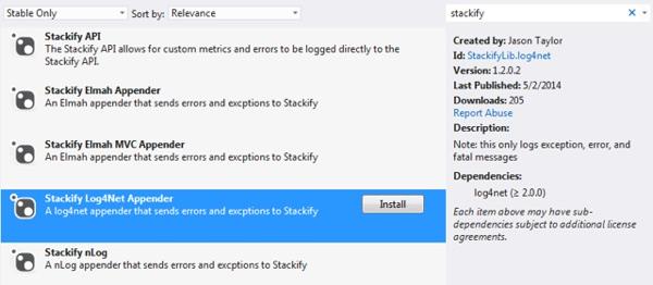 Installing Log Appenders Using NuGet from Visual Studio