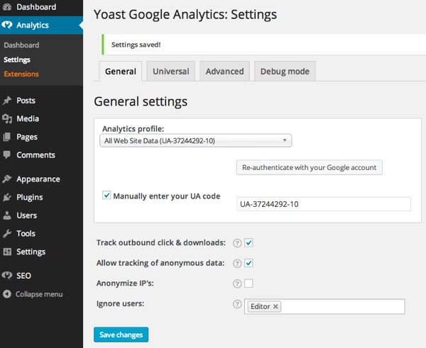 Yoast Google Analytics Settings