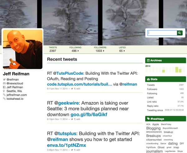 Twitter Archive Site for Jeff Reifman