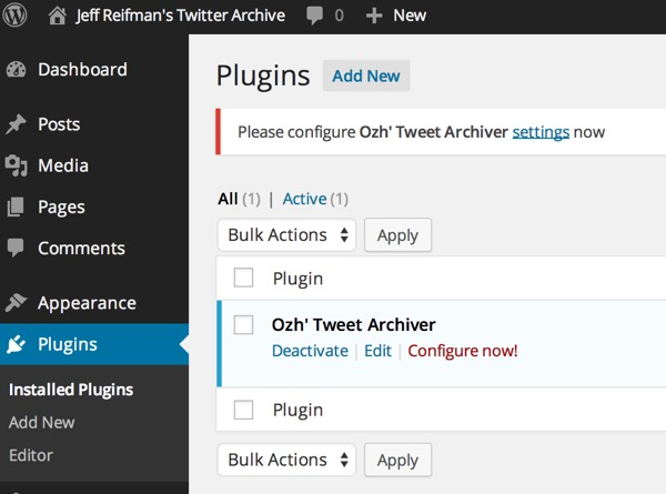 Tweet Archiver Plugin Configuration