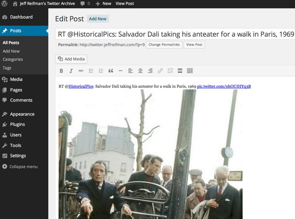 Twitter Archive Generated WordPress Posts