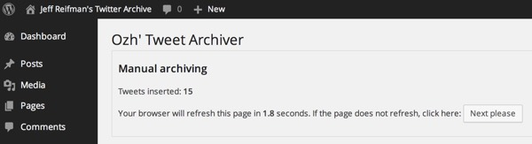 Tweet Archiver in Action - Archiving Tweets