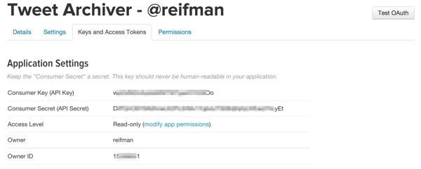 Twitter Application Consumer Keys for API Access
