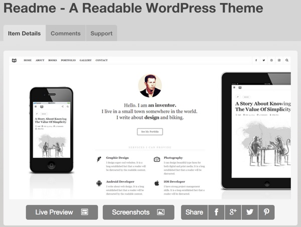 Purchase Readme at ThemeForest