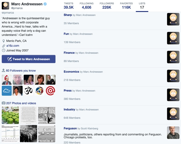 Marc Andreesens Twitter Lists - pmarca