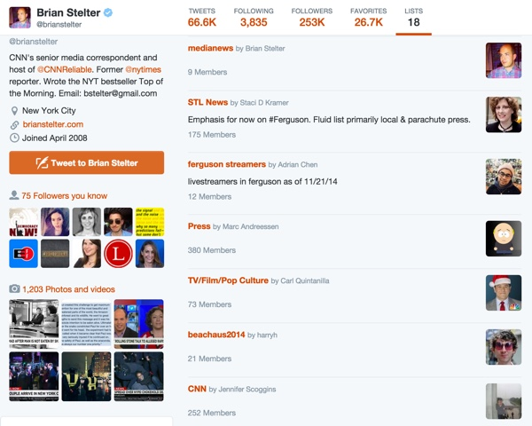 Brian Stelters Twitter Lists