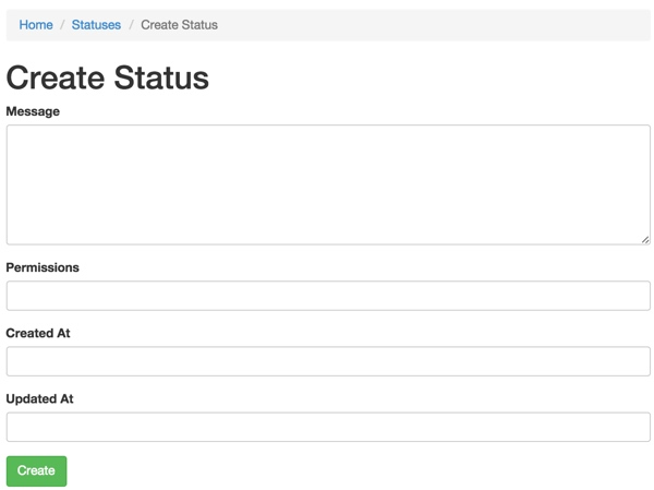Yii Default Form for Status Table