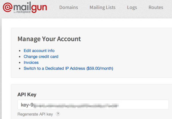 The Mailgun Control Panel with API Key
