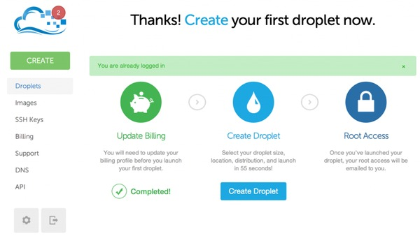 Digital Ocean Create your droplet