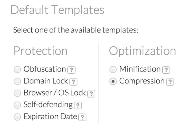 JScrambler Default Templates for Protection and Optimization
