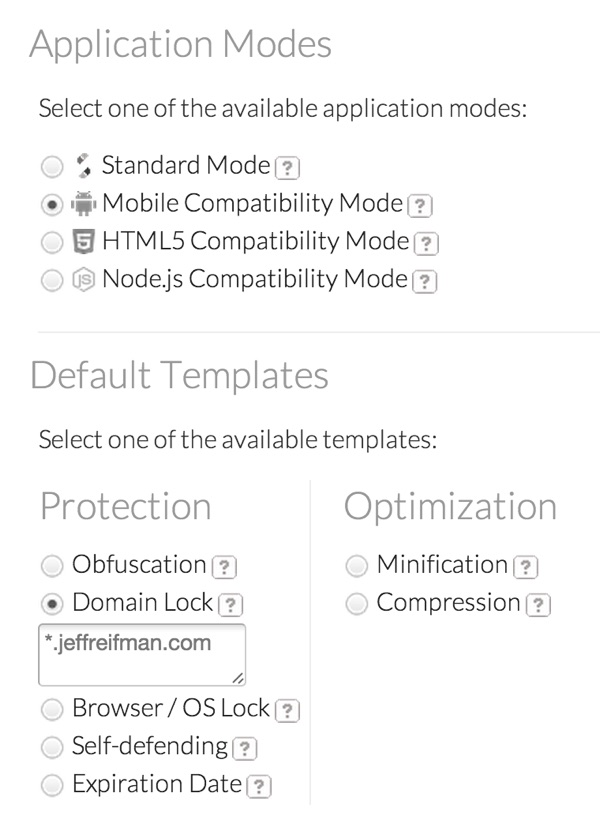 JScrambler Application Modes and Protection Templates