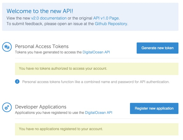 Digital Ocean API Generate Acces Token