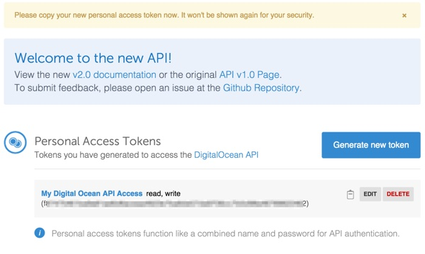 Digital Ocean API Your New Acces Token