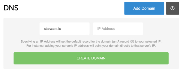 Digital Ocean DNS Web Console Create Domain