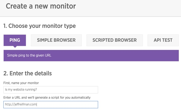New Relic Synthetics Choose your monitor type