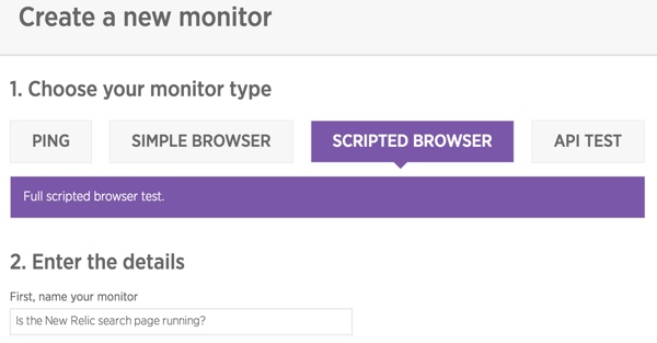 New Relic Synthetics Scripted Browser Testing