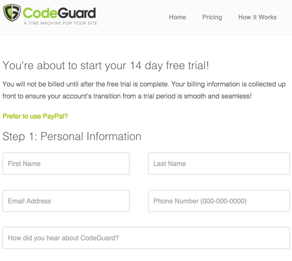 CodeGuard Sign Up