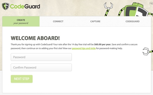 CodeGuard Sign Up Set Password