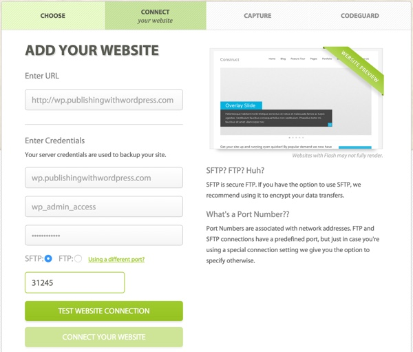 CodeGuard Add Your Website with Different Port