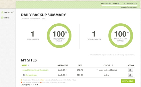 CodeGuard Daily Backup Summary