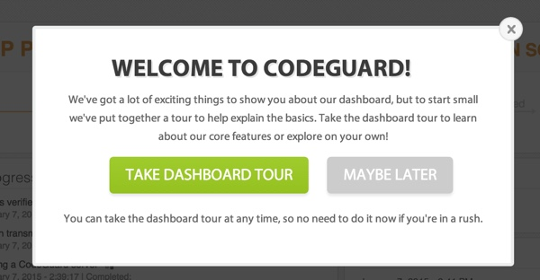 CodeGuard Take the Dashboard Tour
