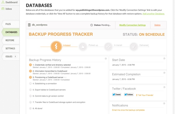 CodeGuard Database Backup Progress Tracker