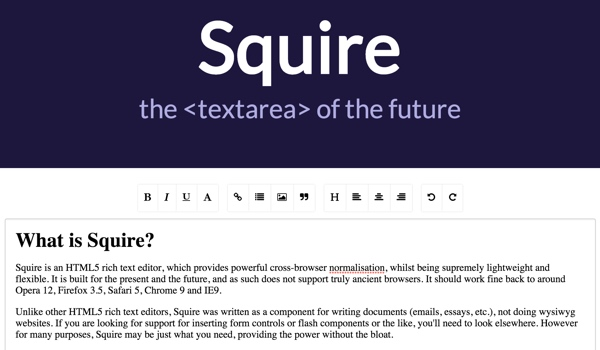 Using Squire, a Lightweight HTML5 Rich Text Editor