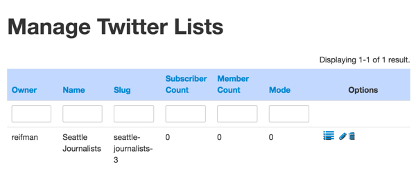 Twitter List API Manage Twittert Lists after Create