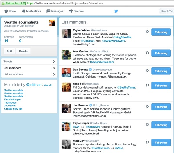 Twitter List API List Member View at Twitter