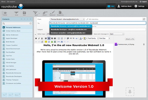 iRedMail Roundcube Webmail Client