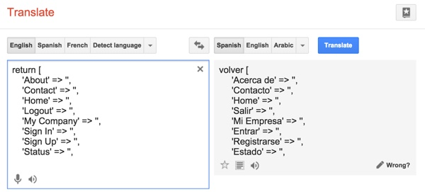 Yii2 I18n Using Google Translator to Fill Message Files