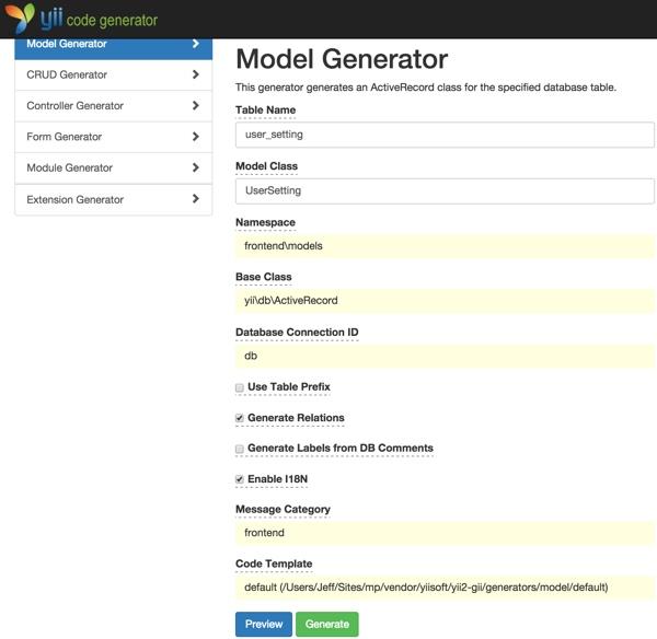 Yii Code Generator Gii with Model UserSetting