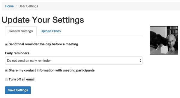 Meeting Planner Update Your Settings with Tabs and Profile Image