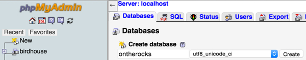 Create the ontherocks MySQL database