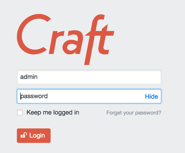 Craft Administrative Login