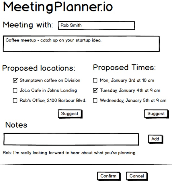 The Original Meeting Planner Mockup for Scheduling a Meeting