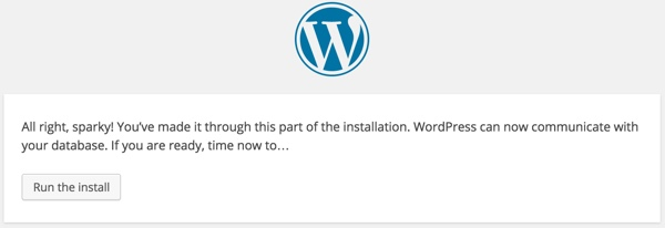 WordPress Run the Install