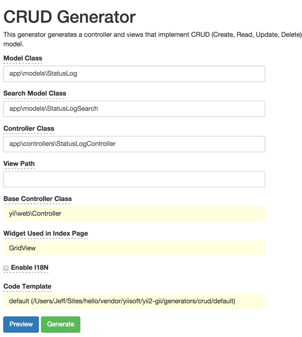 Gii Code Generator for Status Log CRUD Files