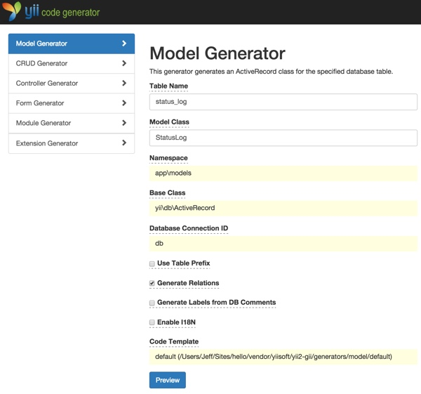 Gii Code Generator for Status Log Model