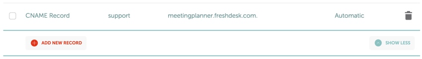Meeting Planner Support - Mapping Our Support Domain CNAME to Fresh Desk