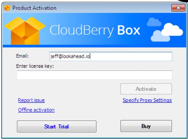 CloudBerry Box Activate - Click Start Trial