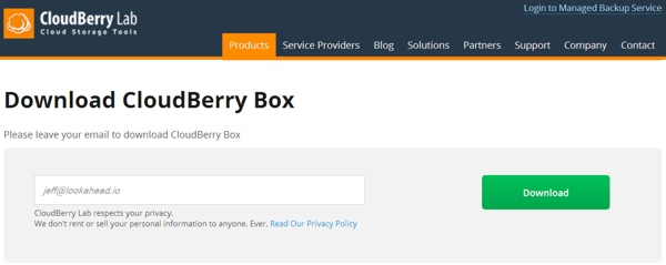 CloudBerry Box Trial Download Request