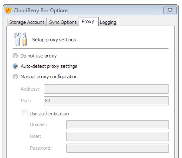 CloudBerry Box Use a Proxy for added security