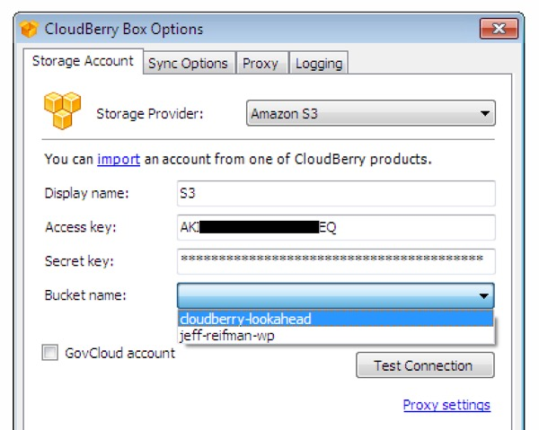 CloudBerry Box S3 Settings Example