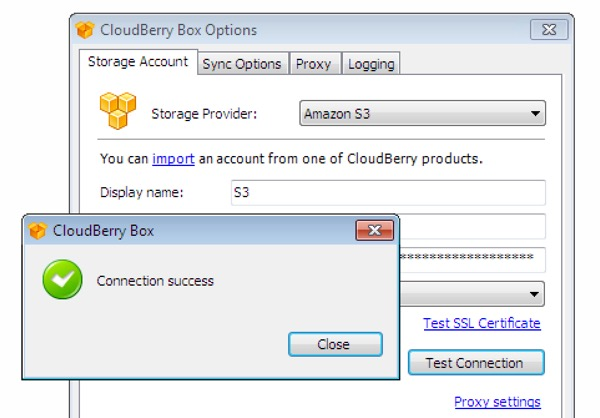 CloudBerry Box Test Your Connection