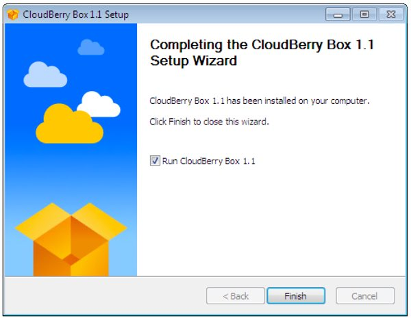 CloudBerry Box Setup Wizard Complete