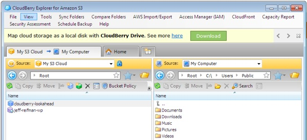 CloudBerry Explorer S3 Configured