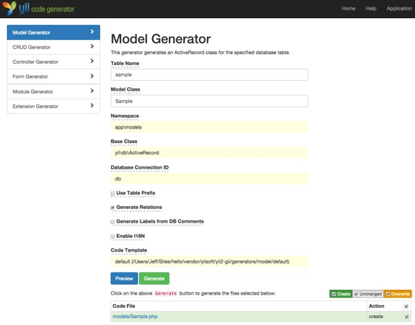Validation Yiis Gii Model Generator