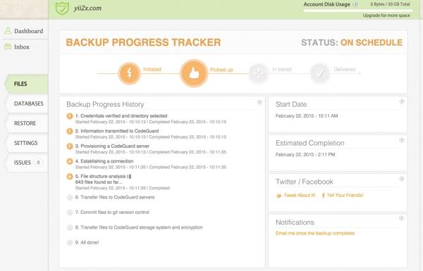 CodeGuard Backups Progress Tracker